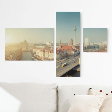 Leinwandbild 3-teilig - Berlin am Morgen - Collage 2