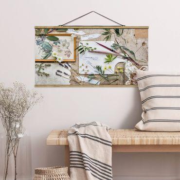 Stoffbild mit Posterleisten - Blumen und Gartenkräuter Vintage - Querformat 1:2