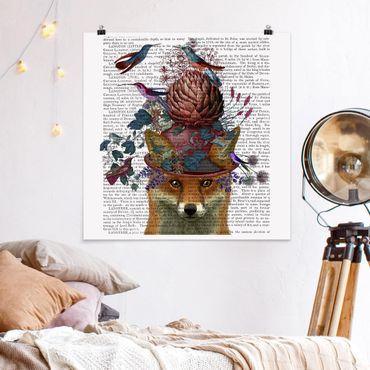 Poster - Vogelfänger - Fuchs mit Artischocke - Quadrat 1:1