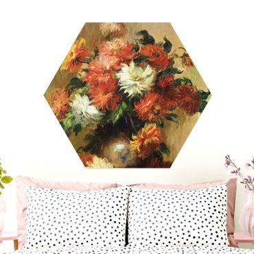 Hexagon Bild Alu-Dibond - Auguste Renoir - Stilleben mit Dahlien
