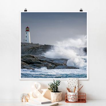 Poster - Sturmwellen am Leuchtturm - Quadrat 1:1