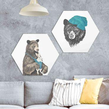 Hexagon Bild Forex 2-teilig - Laura Graves - Bären Paar