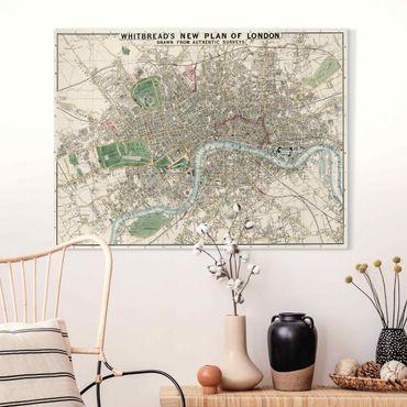 Leinwandbild - Vintage Stadtplan London - Querformat 3:4