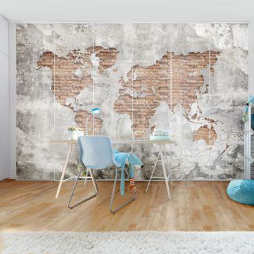 Schiebegardinen Set - Shabby Beton Backstein Weltkarte - Flächenvorhänge