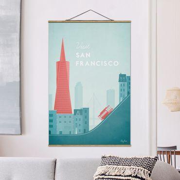 Stoffbild mit Posterleisten - Reiseposter - San Francisco - Hochformat 3:2