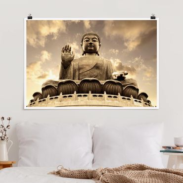 Poster - Großer Buddha Sepia - Querformat 2:3
