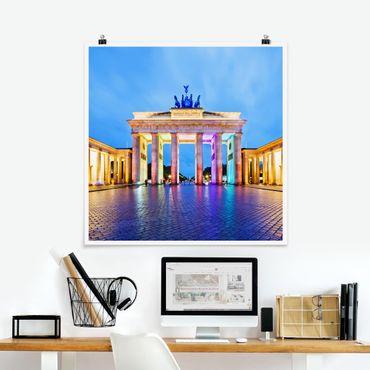 Poster - Erleuchtetes Brandenburger Tor - Quadrat 1:1