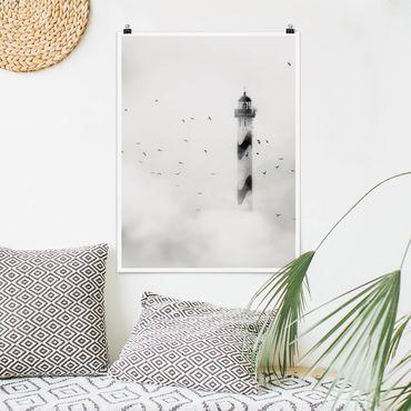 Poster - Leuchtturm im Nebel - Hochformat 3:4