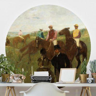 Runde Tapete selbstklebend - Edgar Degas - Jockeys auf Rennbahn
