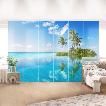 Schiebegardinen Set - Tropisches Paradies - Flächenvorhänge
