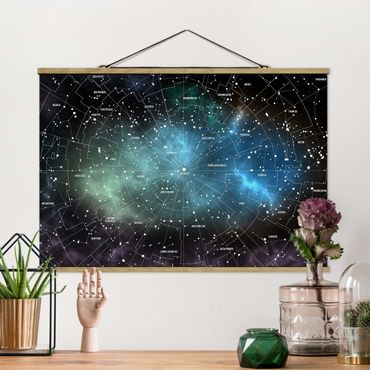 Stoffbild mit Posterleisten - Sternbilder Karte Galaxienebel - Querformat 2:3