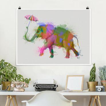 Poster - Regenbogen Splash Elefant - Querformat 3:4