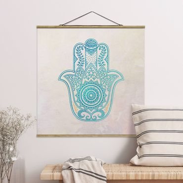 Stoffbild mit Posterleisten - Hamsa Hand Illustration Mandala gold blau - Quadrat 1:1
