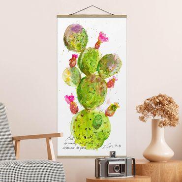 Stoffbild mit Posterleisten - Kaktus mit Bibelvers III - Hochformat 2:1