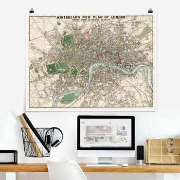 Poster - Vintage Stadtplan London - Querformat 3:4