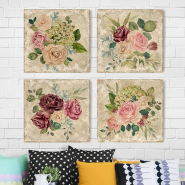 Leinwandbild 4-teilig - Vintage Rosen und Hortensien