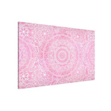 Magnettafel - Muster Mandala Rosa - Memoboard Querformat 2:3