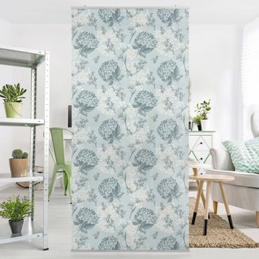Raumteiler - Hortensia Pattern In Blue 250x120cm