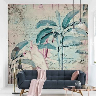 Tapete selbstklebend - Colonial Style Collage - Kakadus und Palmen - Fototapete Quadrat