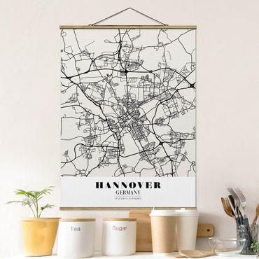 Stoffbild mit Posterleisten - Stadtplan Hannover - Klassik - Hochformat 4:3