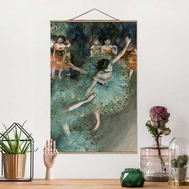 Stoffbild mit Posterleisten - Edgar Degas - Tänzerinnen in Grün - Hochformat 2:3
