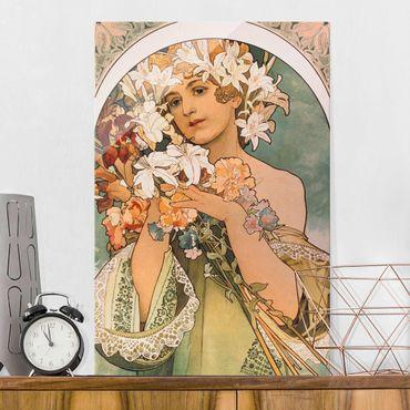 Glasbild - Alfons Mucha - Blume - Hochformat 3:2
