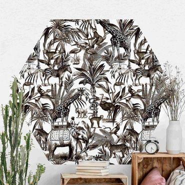 Hexagon Mustertapete selbstklebend - Elefanten Giraffen Zebras und Tiger Schwarz-Weiß mit Braunton