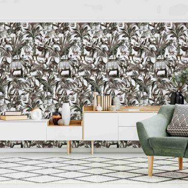 Fototapete - Elefanten Giraffen Zebras und Tiger Schwarz-Weiß mit Braunton