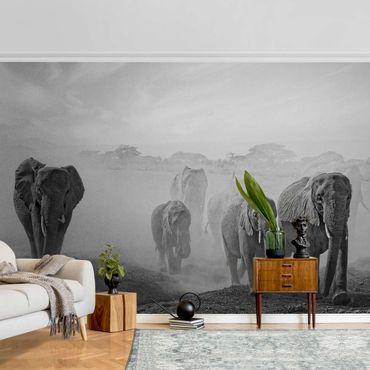 Metallic Tapete  - Elefantenherde