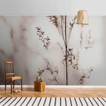 Metallic Tapete  - Elegantes Gras im Schatten