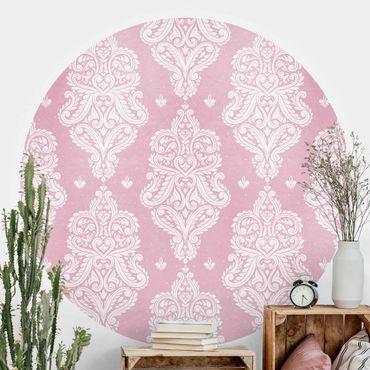 Runde Tapete selbstklebend - Erdbeer Barock Rosa