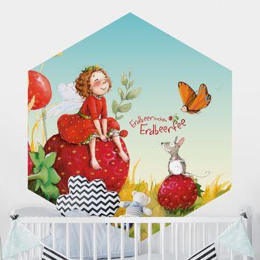 Hexagon Mustertapete selbstklebend - Erdbeerinchen Erdbeerfee - Zauberhaft