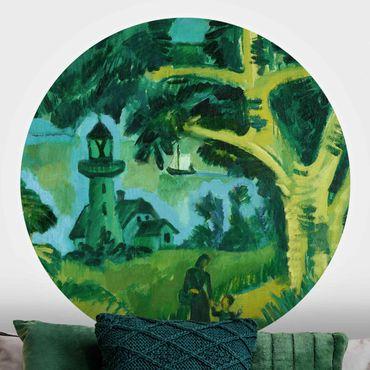 Runde Tapete selbstklebend - Ernst Ludwig Kirchner - Leuchtturm auf Fehmarn