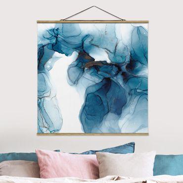 Stoffbild mit Posterleisten - Evolution Blau und Gold - Quadrat 1:1