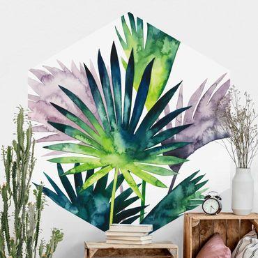 Hexagon Mustertapete selbstklebend - Exotisches Blattwerk - Fächerpalme