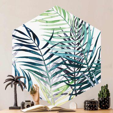 Hexagon Mustertapete selbstklebend - Exotisches Blattwerk - Palme