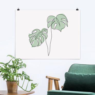 Poster - Blätter Monstera Line Art - Querformat 3:4