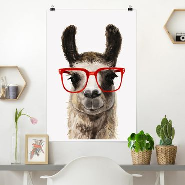Poster - Hippes Lama mit Brille II - Hochformat 3:2