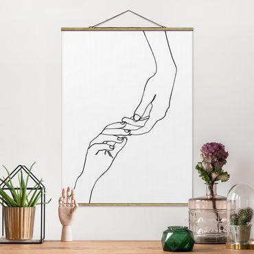 Stoffbild mit Posterleisten - Line Art Hände Berührung Schwarz Weiß - Hochformat 3:4