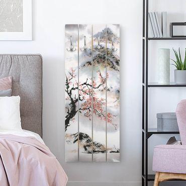 Wandgarderobe Holz - Japanische Aquarell Zeichnung Kirschbaum und Berge - Haken chrom Hochformat