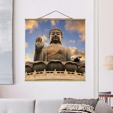Stoffbild mit Posterleisten - Großer Buddha - Quadrat 1:1