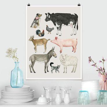 Poster - Bauernhof Tierfamilie I - Hochformat 3:4