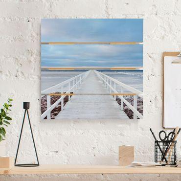 Holzbild - Brücke in Schweden - Quadrat 1:1