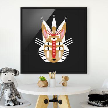 Bild mit Rahmen - Collage Ethno Maske - Hase - Quadrat 1:1