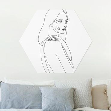 Hexagon Bild Forex - Line Art Frau Schulter Schwarz Weiß