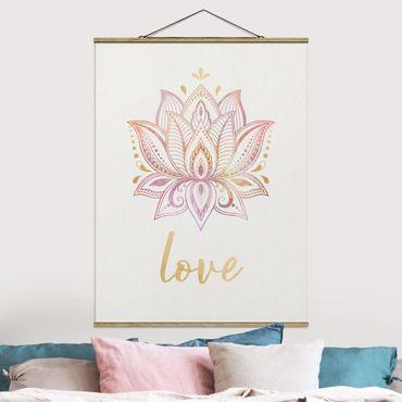 Stoffbild mit Posterleisten - Mandala Namaste Lotus Set gold rosa - Hochformat 3:4