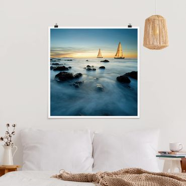 Poster - Segelschiffe im Ozean - Quadrat 1:1