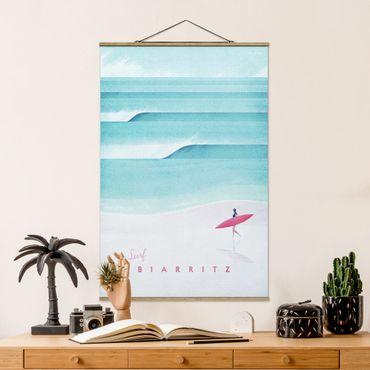 Stoffbild mit Posterleisten - Reiseposter - Biarritz - Hochformat 3:2