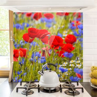 Spritzschutz Glas - Sommerwiese mit Mohn und Kornblumen - Quadrat 1:1