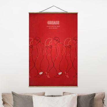 Stoffbild mit Posterleisten - Filmposter Grease - Hochformat 3:2